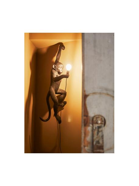 Design outdoor wandlamp Monkey met stekker, Lamp: kunsthars, Zwart, 37 x 77 cm