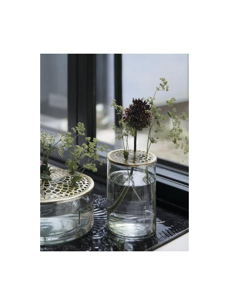Vaas Kassandra met Messingdeckel, Vaas: glas, Deksel: vermessingd edelstaal, Vaas: transparant. Deksel: messingkleurig, Ø 10 x H 16 cm