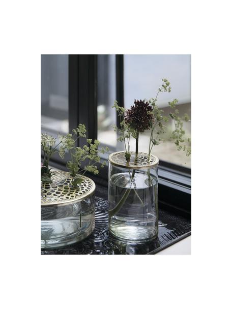 Vaso per fiori con coperchio in ottone Kassandra, Vaso: vetro, Coperchio: acciaio inossidabile otto, Vaso: trasparente Coperchio: ottone, Ø 10 x Alt. 16 cm