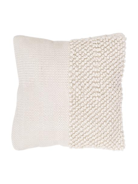 Federa arredo con superficie strutturata Andi, 80% acrilico, 20% cotone, Bianco crema, Larg. 40 x Lung. 40 cm