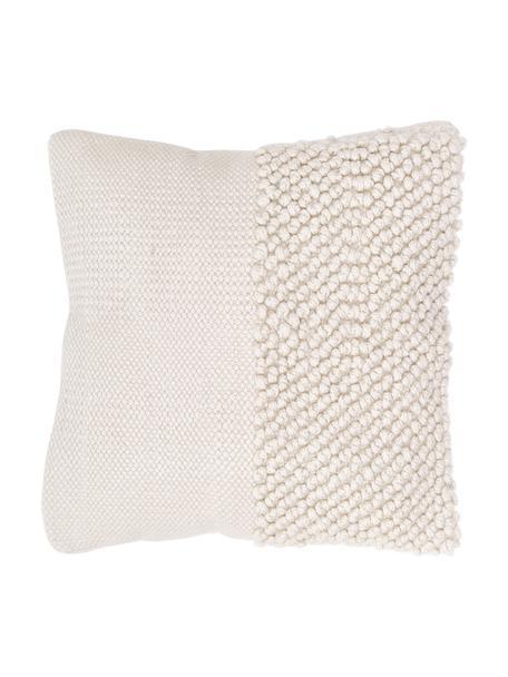 Poszewka na poduszkę Andi, 80% akryl, 20% bawełna, Kremowobiały, S 40 x D 40 cm
