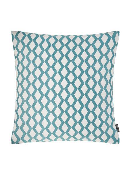Kussenhoes Matteo met patroon, 51% viscose, 25% polyester, 15% linnen, 9% katoen, Jadegroen, gebroken wit, 40 x 40 cm