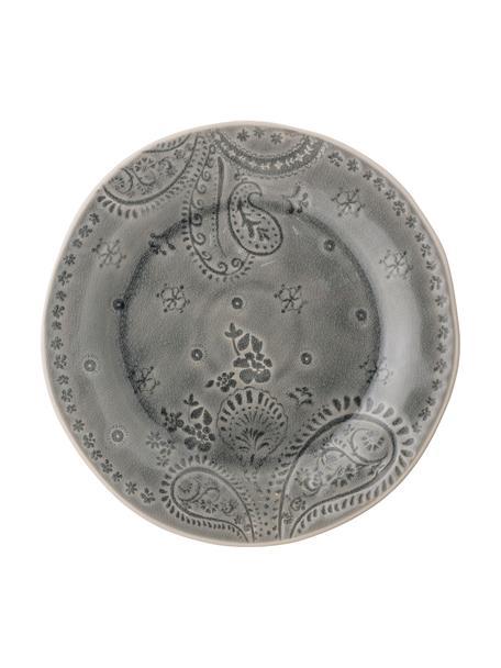 Piatto piano fatto a mano con smalto craquelé Rani, Gres, Grigio, Ø 27 cm