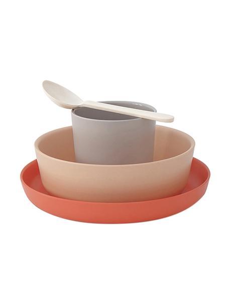 Set colazione in bambù Aki 4 pz, Fibra di bambù, melamina, adatto per alimenti Senza BPA, PVC e senza ftalati, Rosso terracotta, salmone, grigio, bianco crema, Set in varie misure