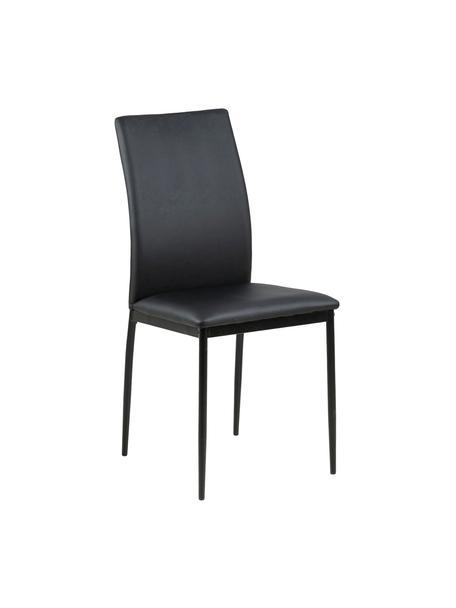 Krzesło ze sztucznej skóry Demina, Tapicerka: poliuretan (skóra Pull-Up, Nogi: metal malowany proszkowo, Czarny, S 44 x G 53 cm