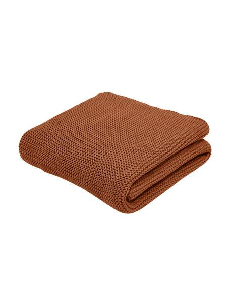 Coperta a maglia in cotone biologico rosso ruggine Adalyn, 100% cotone biologico, certificato GOTS, Rosso, Larg. 150 x Lung. 200 cm