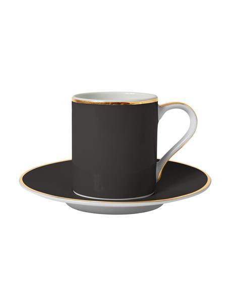 Filiżanka do kawy z porcelany Ginger, 2 szt., Porcelana, Czarny, biały, odcienie złotego, Ø 12 x W 8 cm
