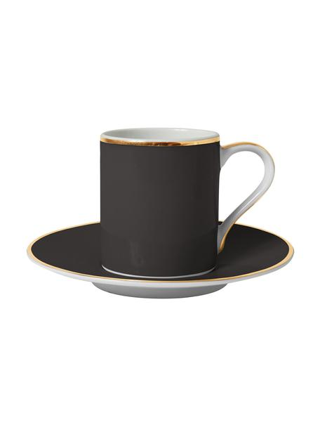 Tazas de café de porcelana Ginger, 2uds., Porcelana, Negro, blanco, dorado, Ø 12 x Al 8 cm