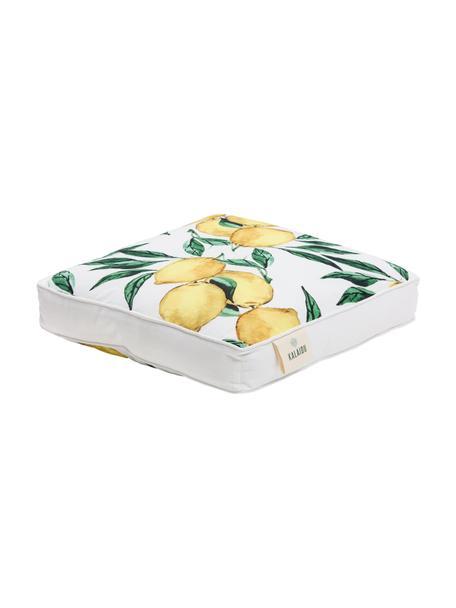 Wysoka poduszka na siedzisko Citrus, Żółty, zielony, biały, S 40 x D 40 cm