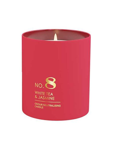 Vela perfumada No. 8 (té blanco, jazmín, lirio de los valles), Recipiente: vidrio, Té blanco, jazmín, lirio de los valles, Ø 8 x Al 10 cm
