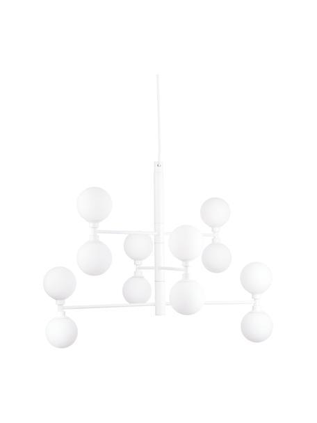 Grote hanglamp Grover met glazen bollen, Baldakijn: gepoedercoat metaal, Wit, Ø 70 x H 56 cm