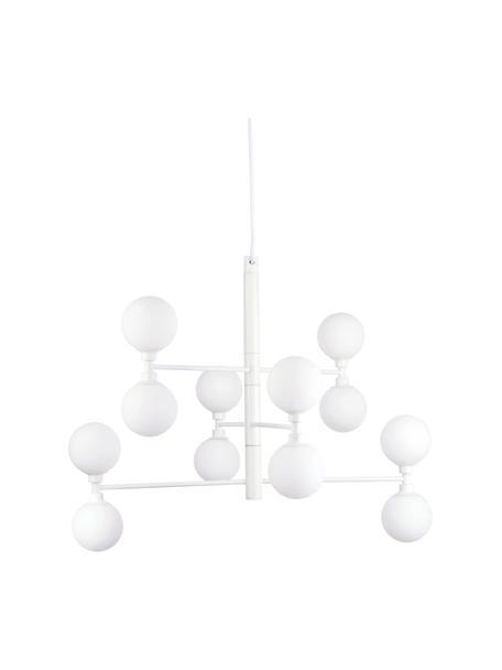 Große Pendelleuchte Grover mit Glaskugeln in Weiß, Baldachin: Metall, pulverbeschichtet, Weiß, Ø 70 x H 56 cm