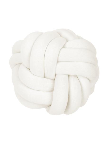 Geknoopt kussen Twist in wit, Ivoorkleurig, Ø 30 cm