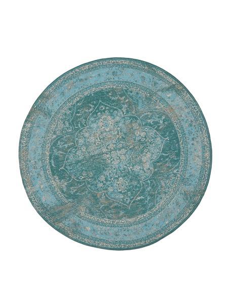 Rond vintage chenille vloerkleed Palermo in turquoise, Bovenzijde: 95% katoen, 5% polyester, Onderzijde: 100% katoen, Turquoise, lichtblauw, crèmekleurig, Ø 150 cm (maat M)