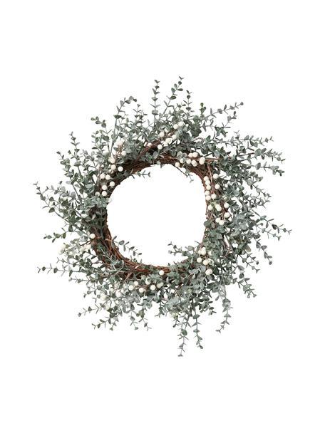 Handgefertigter Weihnachtskranz Vintia Ø 50 cm, Kunststoff, Grün, Weiss, Braun, Ø 50 cm