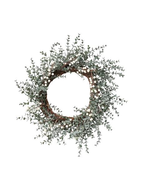 Ręcznie wykonany wieniec świąteczny Vintia, Tworzywo sztuczne, Zielony, biały, brązowy, Ø 50 cm