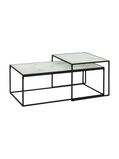 Set 2 tavolini da salotto con piano effetto marmo Bolton, Ripiani: vetro, sventati, Struttura: metallo, verniciato a pol, Bianco, Set in varie misure