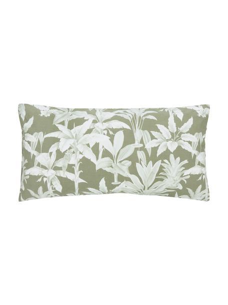 Baumwoll-Kopfkissenbezüge Shanida in Grün/Cremeweiß, 2 Stück, Webart: Renforcé Fadendichte 144 , Grün, 40 x 80 cm
