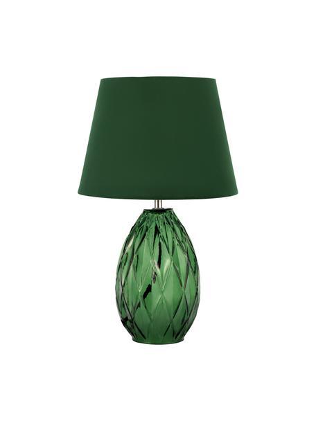 Tischlampe Crystal Velvet mit Glasfuß, Lampenschirm: Samt, Lampenfuß: Glas, Grün, Ø 25 x H 41 cm