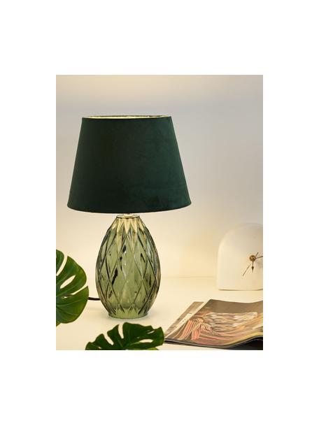 Lampada da comodino con base in vetro Crystal Velvet, Paralume: velluto, Base della lampada: vetro, Verde, Ø 25 x Alt. 41 cm