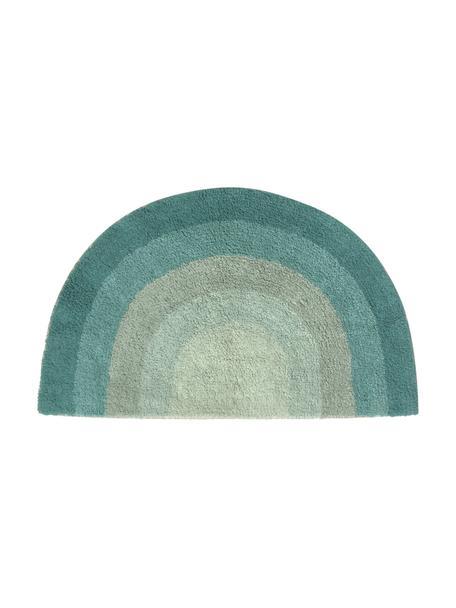Tappeto bagno design arcobaleno Arco, 100% cotone, Tonalità verdi, Larg. 80 x Lung. 45 cm
