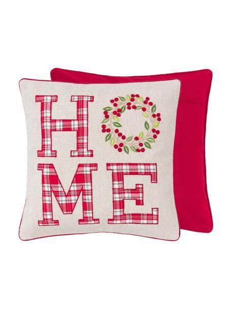 Bestickte Kissenhülle Wreath mit Aufschrift, 100% Baumwolle, Beige, Rot, Grün; Kederumrandung: Rot, 45 x 45 cm