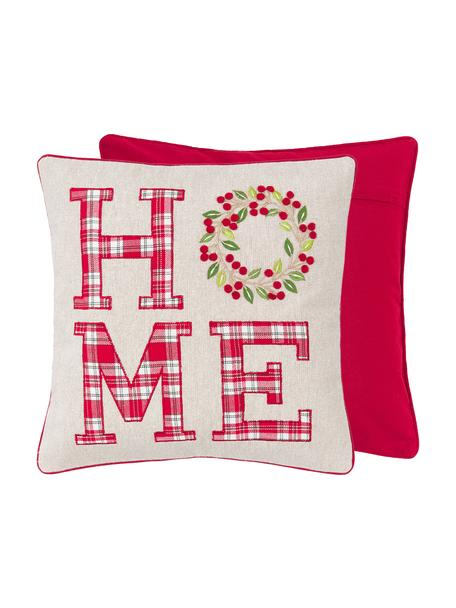 Geborduurde kussenhoes Wreath met opschrift, 100% katoen, Beige, rood, groen; Bies: rood, 45 x 45 cm