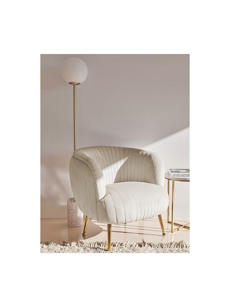 Fluwelen fauteuil Cara in beige, Bekleding: fluweel (polyester), Frame: massief berkenhout, spaan, Poten: gecoat metaal, Fluweel beige, 81 x 78 cm