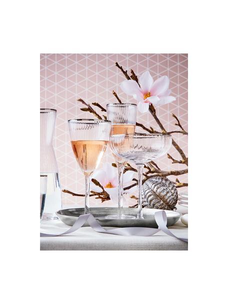 Champagneglazen Golden Twenties met goudkleurige rand, 4-delig, Glas, Transparant, Ø 7 cm