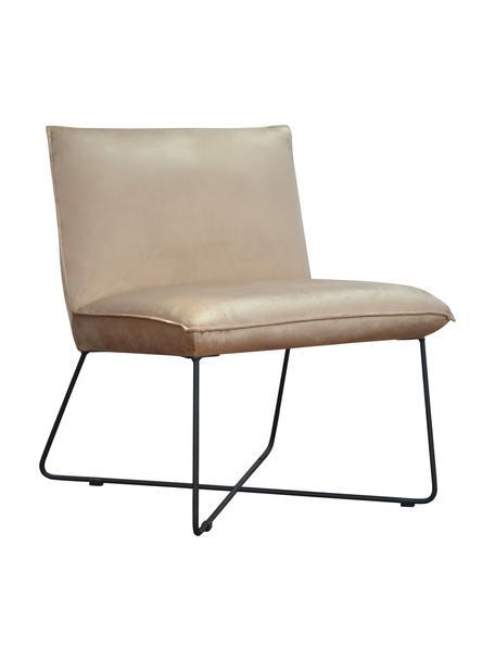 Krzesło tapicerowane z aksamitu Victor, Tapicerka: aksamit (100% poliester), Stelaż: drewno naturalne, Nogi: metal, Aksamitny beżowy, nogi: czarny, S 75 x G 75 cm