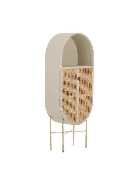 Armadietto con intreccio viennese Retro Oval, Intreccio viennese: canna da zucchero, Grigio chiaro, Larg. 65 x Alt. 160 cm