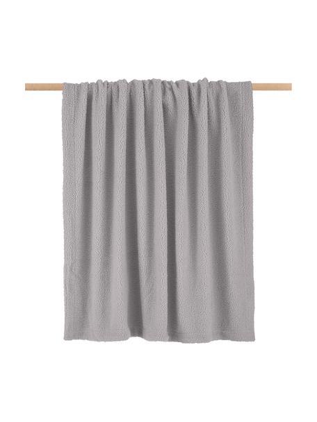 Teddy-Plaid Mille in Hellgrau, Vorderseite: 100% Polyester (Teddyfell, Rückseite: 100% Polyester, Hellgrau, 150 x 200 cm