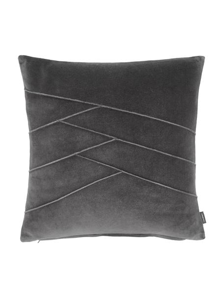Cuscino in velluto con imbottitura Pintuck, Rivestimento: 55% rayon, 45% cotone, Grigio, Larg. 45 x Lung. 45 cm