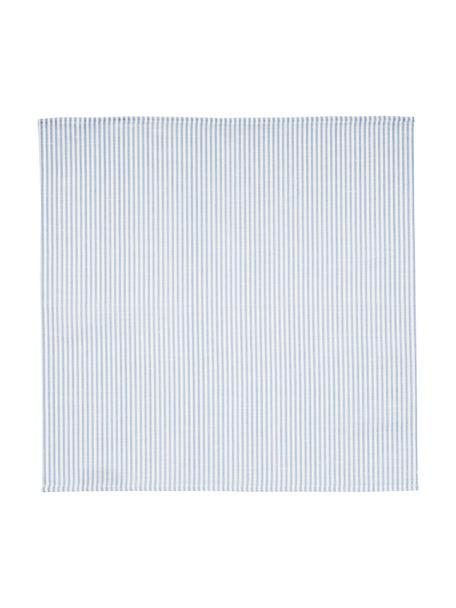 Servilletas de lino Streifen, 6uds., Blanco, azul claro, An 45 x L 45 cm