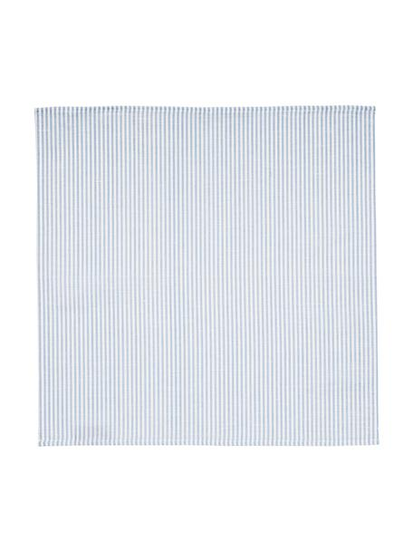 Stoff-Servietten Streifen aus Halbleinen, 6 Stück, Weiss, Hellblau, 45 x 45 cm