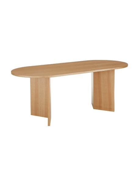 Owalny stół do jadalni Joni, Płyta pilśniowa średniej gęstości (MDF) z fornirem z drewna jesionowego, lakierowana, Fornir z drewna jesionowego, S 200 x G 90 cm