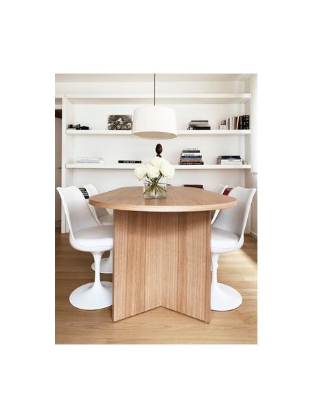 Mesa de comedor ovalada en fresno Joni, Tablero de fibras de densidad media (MDF) chapado en madera de fresno pintado, Fresno, An 200 x F 90 cm