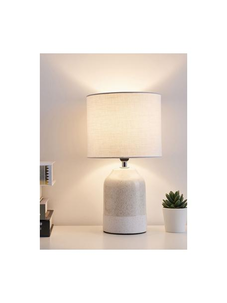 Kleine nachtlampje Sandy Glow van keramiek, Lampenkap: linnen, Lampvoet: keramiek, Beige, wit, Ø 18 x H 33 cm