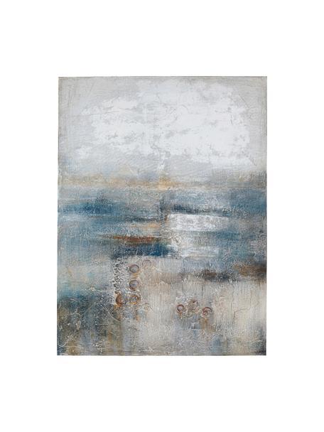 Handbeschilderde canvasdoek Abstract Into The Night, Afbeelding: acryl verf, Frame: massief natuurlijk dennen, Blauw, grijs, bruin, 90 x 120 cm