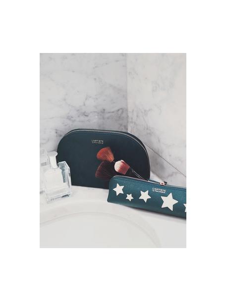 Pennenetui Stars, Kunstleer, Beige, groen, goudkleurig, 21 x 6 cm