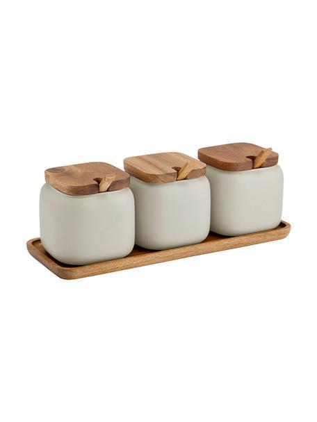 Opbergpotten set Essentials van porselein en acaciahout, 7-delig, Porselein, acaciahout, Zandkleurig, acaciahoutkleurig, Set met verschillende formaten