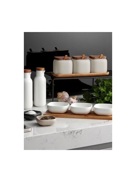 Set de especias Essentials, 7pzas., Porcelana, madera de acacia, Color arena, acacia, Set de diferentes tamaños
