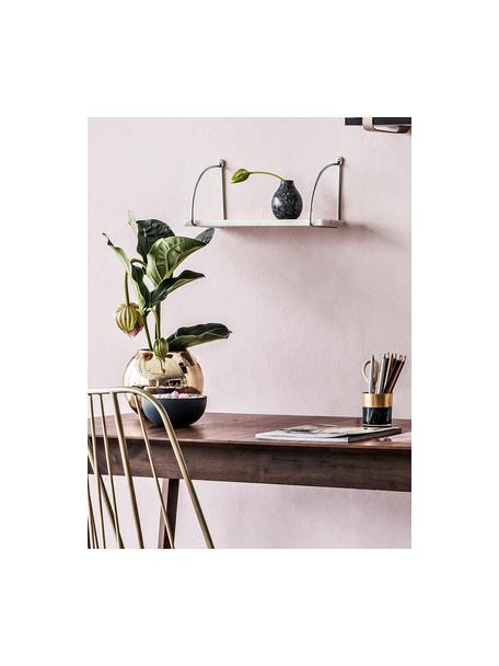 Marmeren wandplank Porter, Plank: marmer, Wandbevestiging: edelstaalkleurig. Plank: gemarmerd wit, 40 x 18 cm