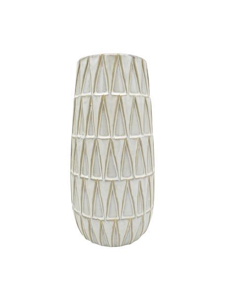 Jarrón de cerámica Nomad, Cerámica, Blanco, beige, Ø 13 x Al 26 cm
