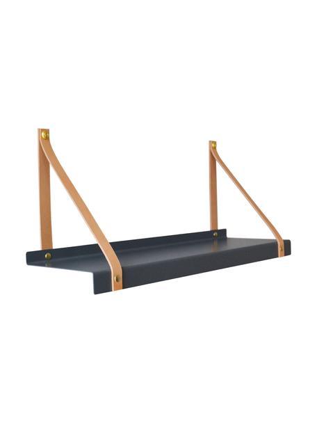 Wandplank Shelfie, Plank: gepoedercoat metaal, Riemen: leer, Grijs, bruin, 50 x 23 cm