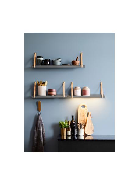 Estante de pared de metal Shelfie, Estante: metal, con pintura en pol, Correa: cuero, Gris, marrón, An 50 x Al 23 cm