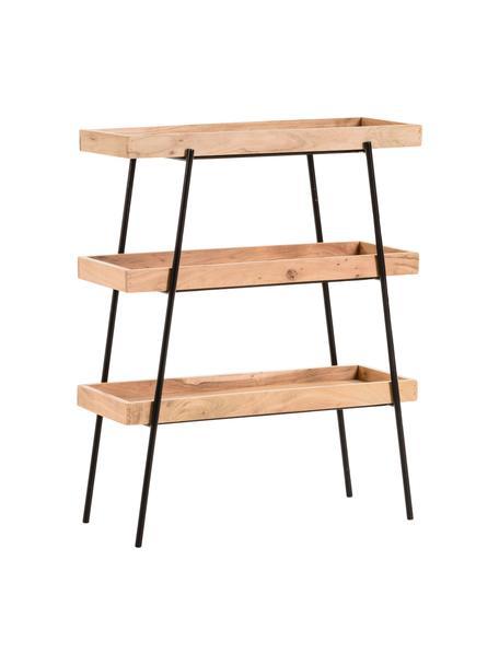 Laag wandrek Basi van hout en metaal, Frame: gelakt metaal, Zwart, bruin, 73 x 90 cm