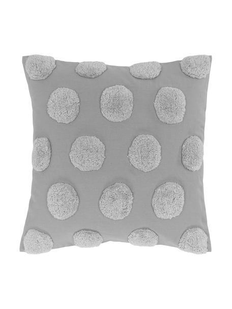Kussenhoes Rowen met getuft patroon, 100% katoen, Grijs, 50 x 50 cm