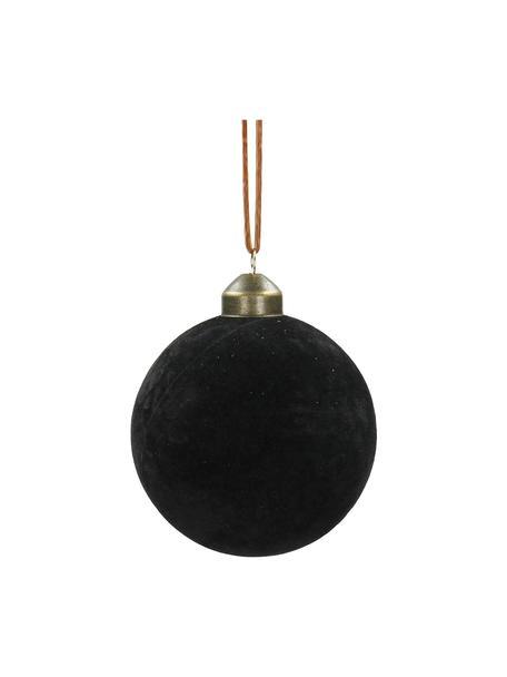 Samt-Weihnachtskugeln Velvet Ø8cm, 4Stück, Schwarz, Ø 8 cm