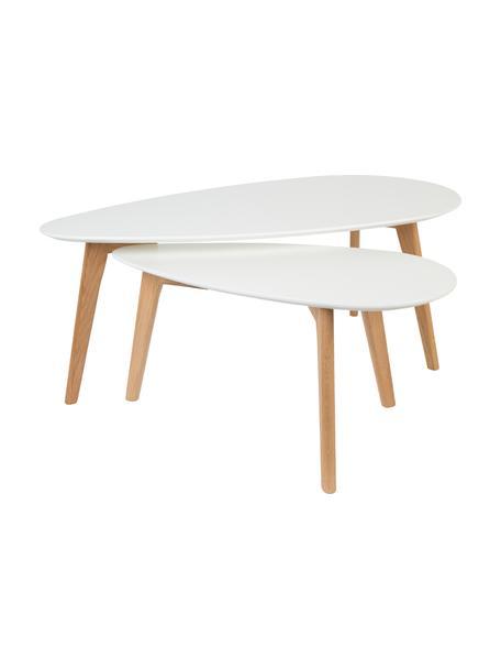 Salontafelset Ina, 2-delig, Tafelblad: MDF, gelakt, Poten: eikenhout, massief, Tafelblad: wit. poten: eikenhoutkleurig, Set met verschillende formaten